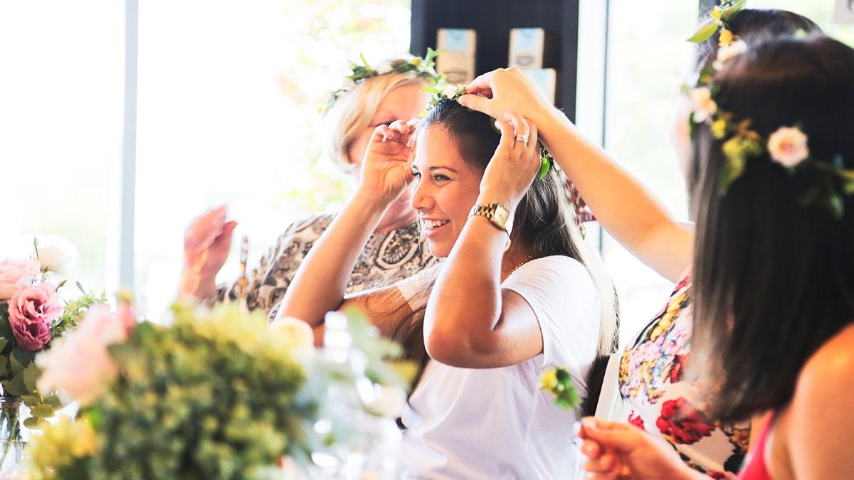 bridal shower high tea flower crowns aimee provence sunshine coast