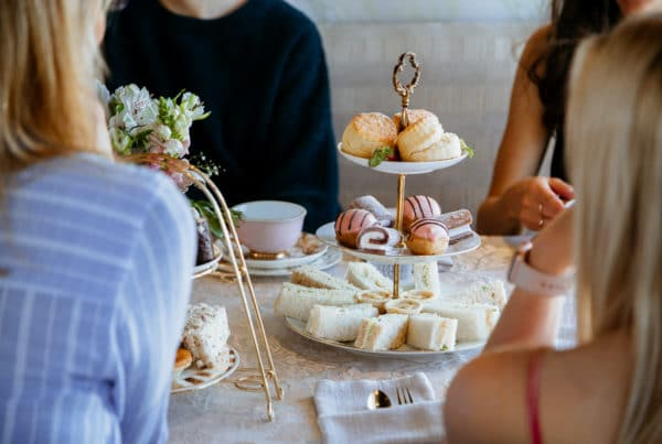 high tea food with ladies