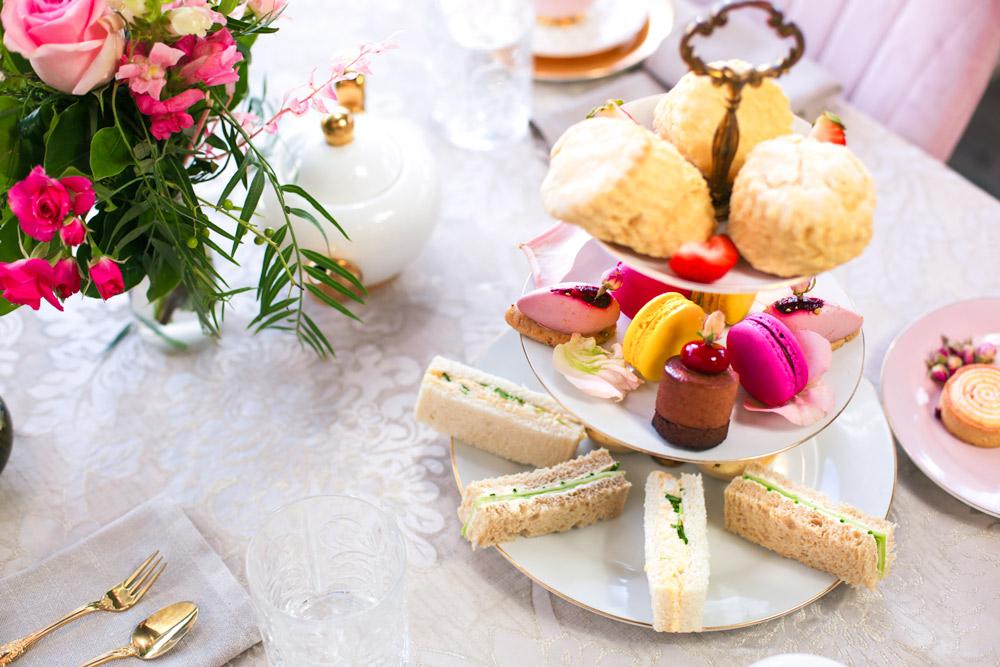 High tea setting with small treats