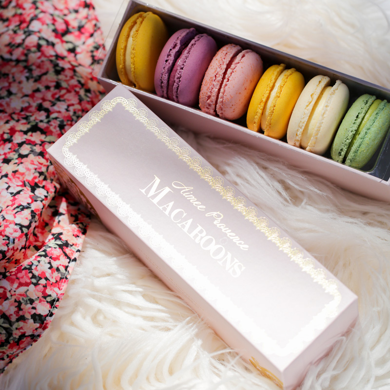 colourful box of macarons